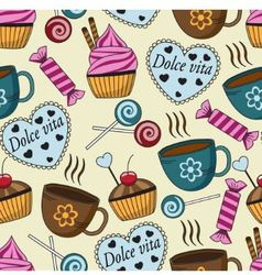 seamless pattern with sweets and cups vector image