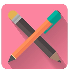 Flat pencil and pen icon visual thinking and vector