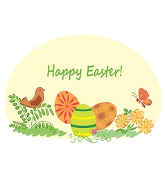 Happy easter - nature with easter eggs vector