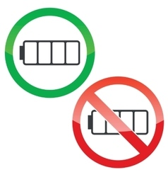 Empty battery permission signs set vector