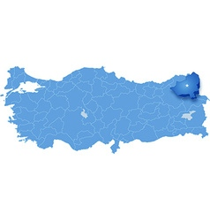 Map of turkey kars vector