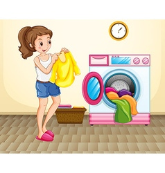 Woman doing laundry at home vector