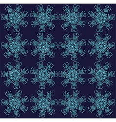 Teal abstract lace flowers on the dark blue vector image