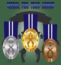Medal skill honor sharpshooter set vector