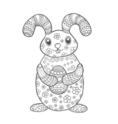 Hand drawn cute easter bunny vector image