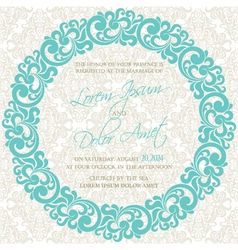Invitation with round floral element vector