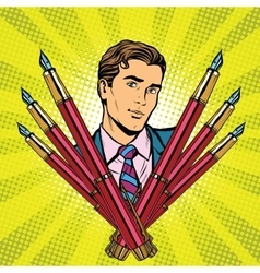 Businessman and ink fountain pen icon vector