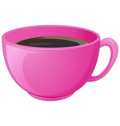 A pink cup with coffee vector