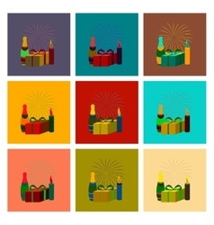 Assembly flat fireworks champagne vector