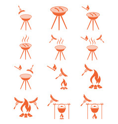 Barbecue sausage icon set vector