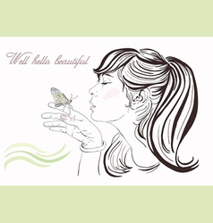 Beautiful girl with butterfly vector