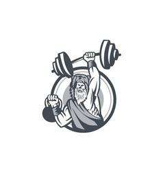 Berserker lifting barbell kettlebell circle retro vector