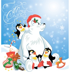 Card with funny penguins and polar bear with prese vector image