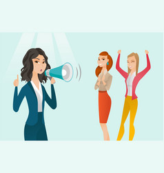 Caucasian white feminist shouting into a megaphone vector