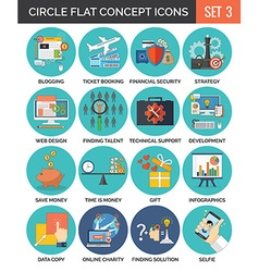 Circle colorful concept icons flat design set 3 vector