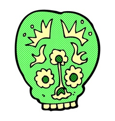Comic cartoon sugar skull vector