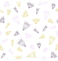 Cute hand drawn seamless pattern with diamonds vector image
