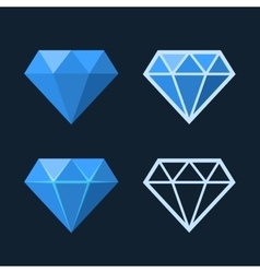 Diamond Icons Set Flat Style Logo vector image vector image