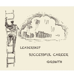 Drawn man climbing stair successful career vector