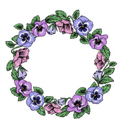 Frame of vintage botanical flowers violet pansy vector