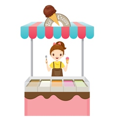 Girl with ice cream shop vector