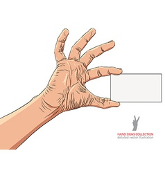 Hand showing business card detailed vector image vector image