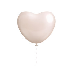 heart shaped white balloon isolated vector image vector image