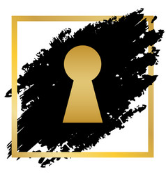 keyhole sign golden icon at vector image vector image