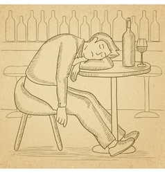 Man sleeping in bar vector image