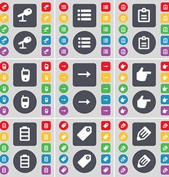 Microphone List Survey Mobile phone Arrow right vector image vector image