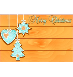 postcard with cakes on Christmas wooden against vector image vector image