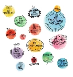 Set of time managment handdrawn icons vector image vector image