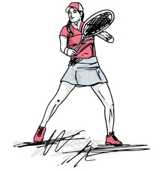 Sketch of woman playing tennis vector image vector image
