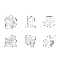 skytower icon set outline style vector image