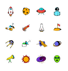 Space icons set cartoon vector