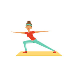 Sportive young woman character lunging girl vector