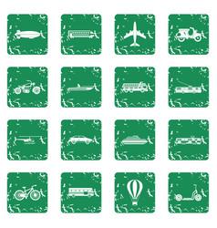 Transportation icons set grunge vector