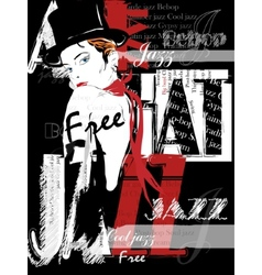 Vintage jazz poster background vector