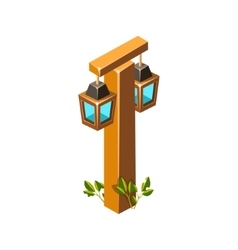 Post with stylized lantern lamps isometric garden vector