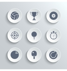 Sport icons set - white round buttons vector