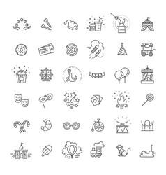 amusement park sings set thin line art icons vector image