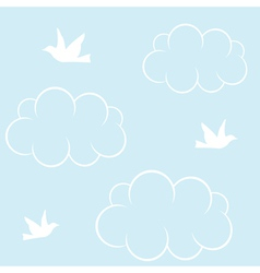 birds cloud and blue sky vector image