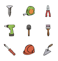 Work tools icons set cartoon style vector