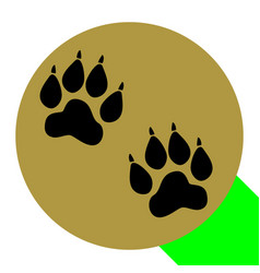 Animal tracks sign  flat black icon with vector