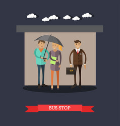 Bus stop concept in flat style vector