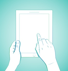 Hand touching 10 inchtablet vector