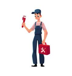 Smiling plumbing specialist plumber standing with vector