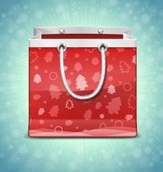 Christmas Red Shopping Bag vector image