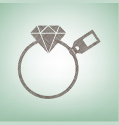 Diamond sign with tag  brown flax icon on vector