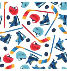 Sports seamless pattern with hockey equipment flat vector image